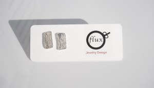 reticulated recycled silver stud earrings