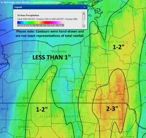 Estimated total rainfall between 6am Wednesday 10/15 and 6am Thursday 10/16. Click image to enlarge.