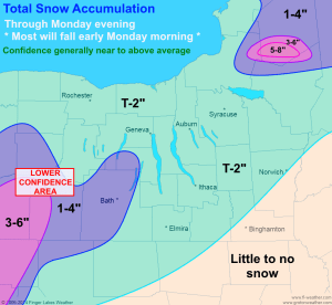 Snowfall amounts should be generally light across the Finger Lakes, with the majority of the snow falling in the early morning and pre dawn hours.