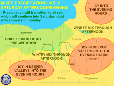 A wintry mix of precipitation is likely on Saturday, which could make travel slick at times. Click image to enlarge.