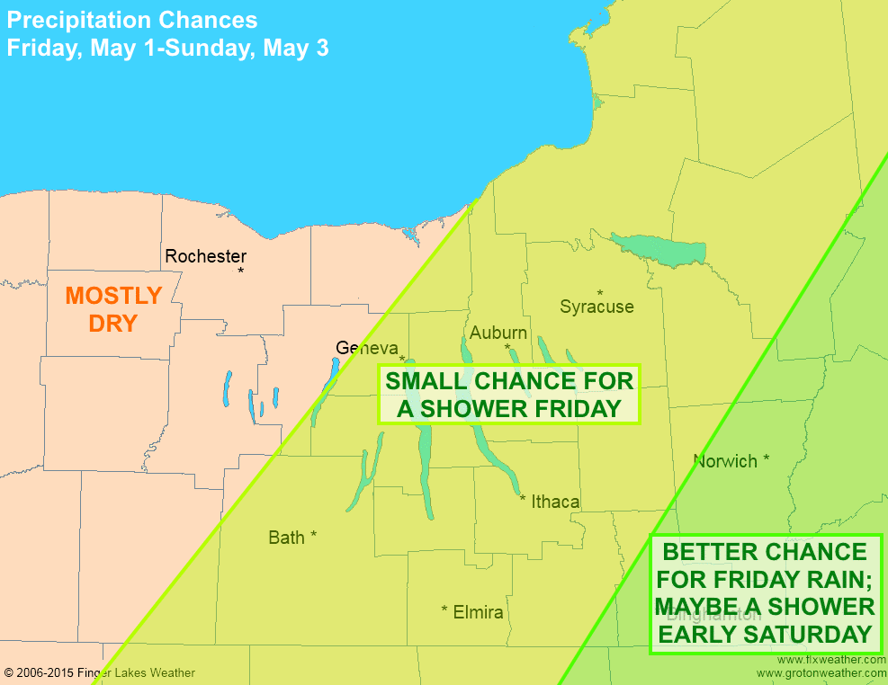 A few rain showers will be possible across the eastern Finger Lakes on Friday, but the weekend should be mostly dry.