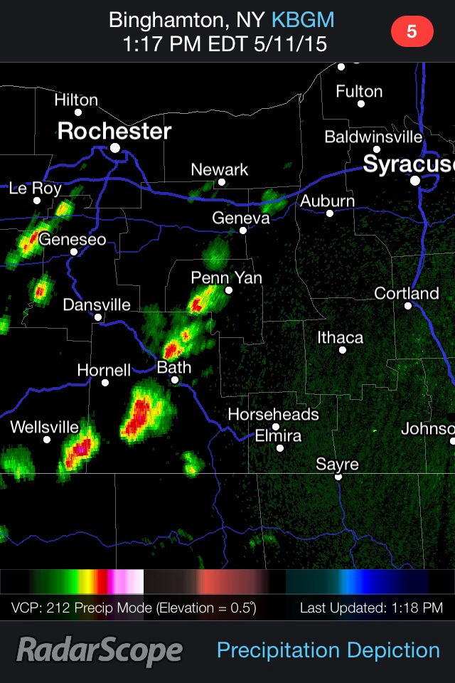 Thunderstorms are rapidly developing over the Finger Lakes and Southern Tier early Monday afternoon.