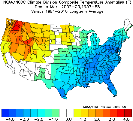 December-March temperature anomalies averaged between 1957 and 2002.