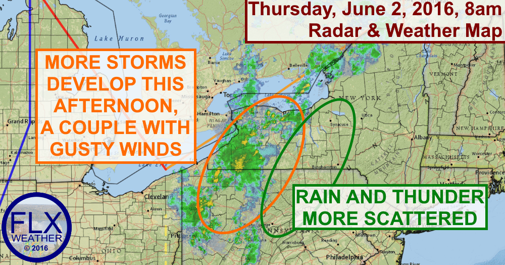 Thunderstorms, some strong, are likely across the Finger Lakes this afternoon.