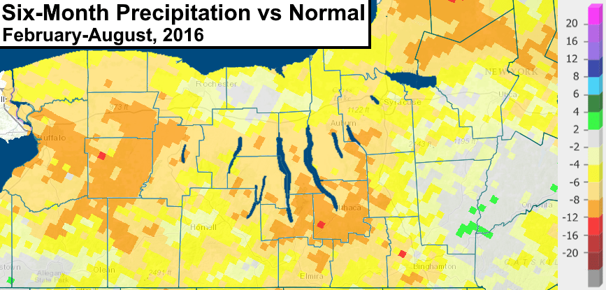 finger lakes drought six month precipitation well below normal