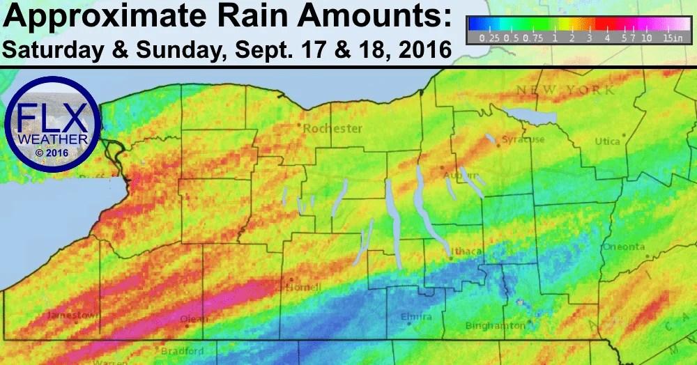 finger lakes weekend rain fall amounts