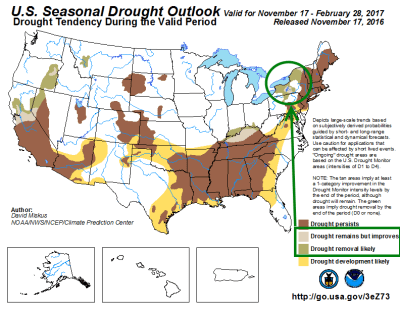 The Climate Prediction Center is anticipating continued drought improvement over the Finger Lakes during the course of the Winter. Click to enlarge. [NOAA/CPC]