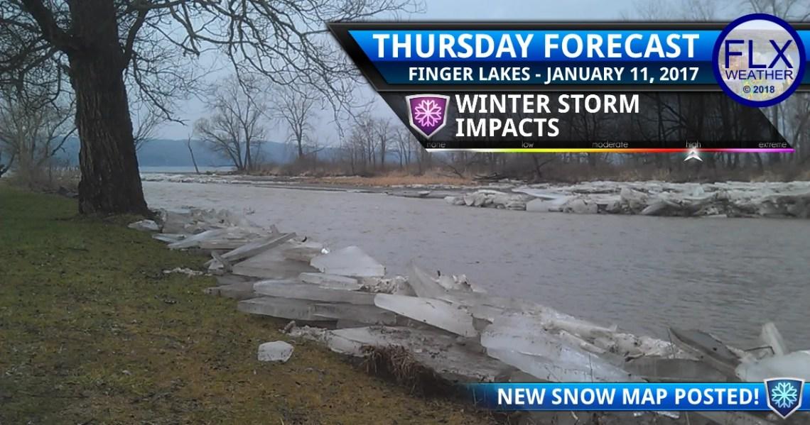 finger lakes weather forecast thursday january 11 2018 winter storm saturday january 13 2018 snow map ice jam flooding