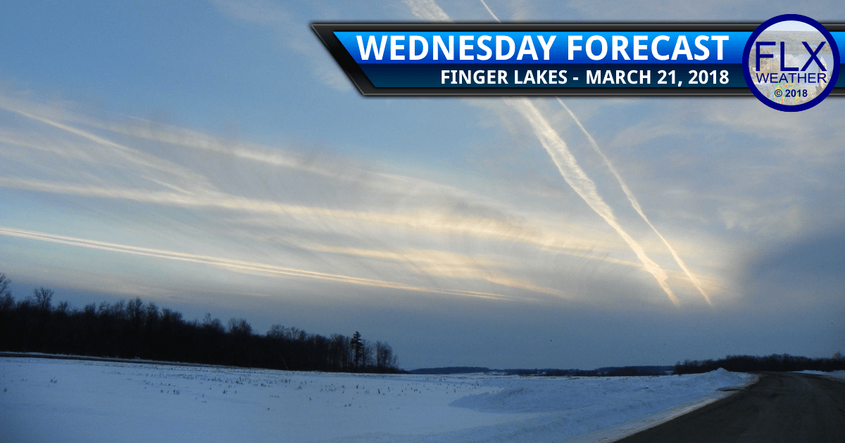 finger lakes weather forecast Wednesday March 20 2018 cloudy noreaster snow cold