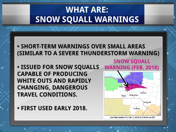 finger lakes weather what is a snow squall warning