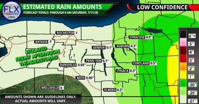 finger lakes weather forecast rainfall map friday night july 10 2020