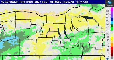 finger lakes weather precipitation last 30 days percent average