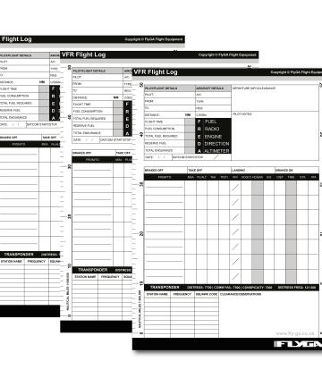 VFR Flight Log Pad Plog (Flight planning, notes, A5 pad, booklet)