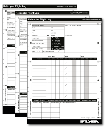 A5 VFR Helicopter Pilot Log Pad (50 Page Plog) — 3 Pack