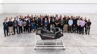 Photo of FIRST PROTOTYPE CARBON FIBRE CHASSIS DELIVERED FROM NEW £50M McLAREN AUTOMOTIVE INNOVATION AND MANUFACTURING CENTRE .
