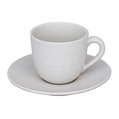Tasse Cafe 8cl Et Soucoupe En Gres Blanc Fly