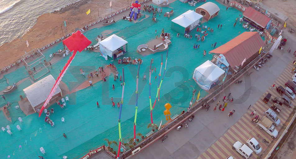 top view of event - Beach Kite Festival at Dwarka 2017 - Fly360