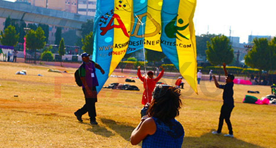 kite flying at event - International Kite Festival