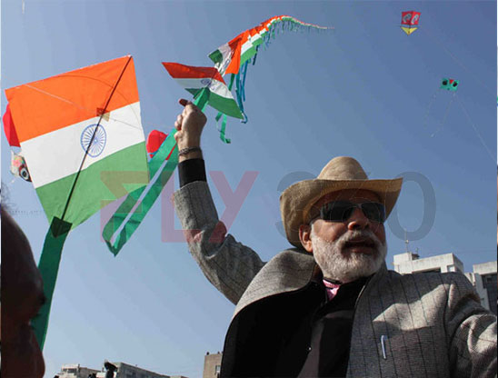 Narendra modi at Kite Flying Events