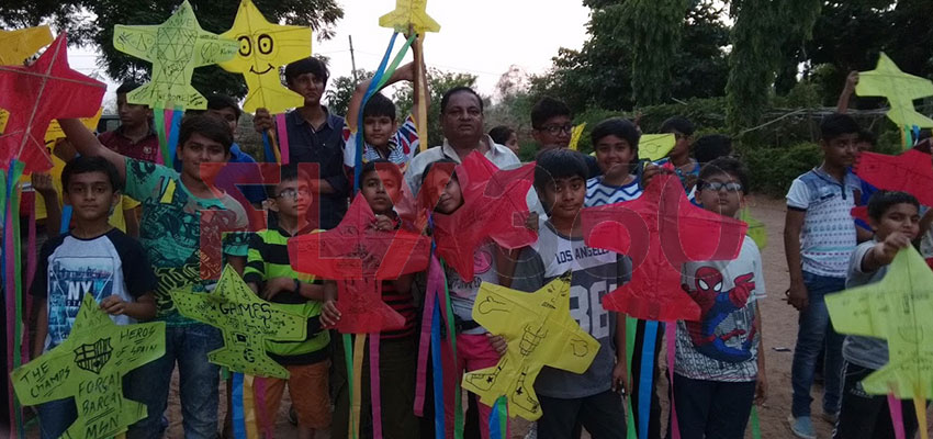 kite making with kids and ashok shah