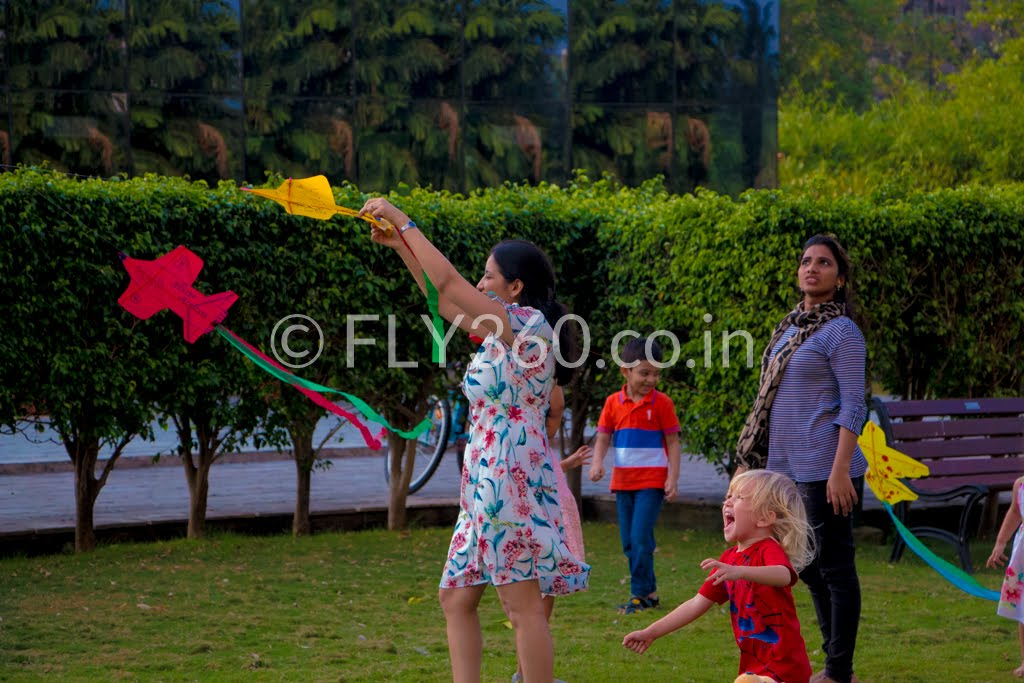 kids fly kite with fly360