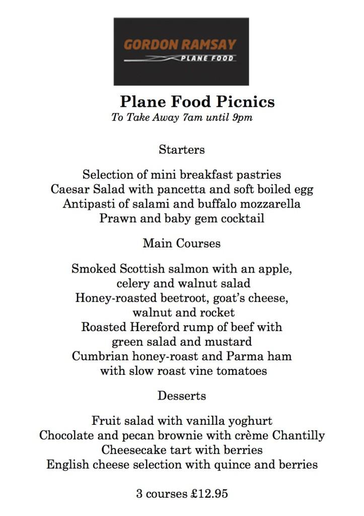 Plane Food's Picnic Menu