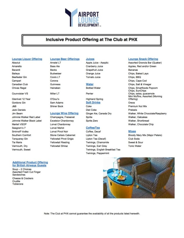 The Club at PHX Inc - Lounge Menu