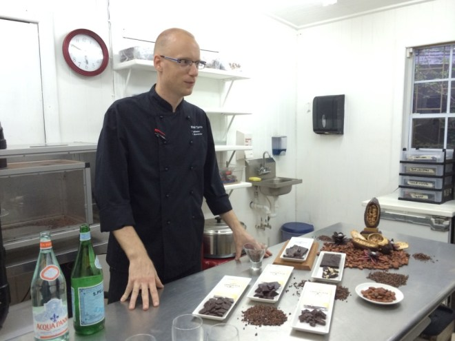 Dutch chocolatier Wouter Tjeertes at the Jade Mountain Chocolate Lab