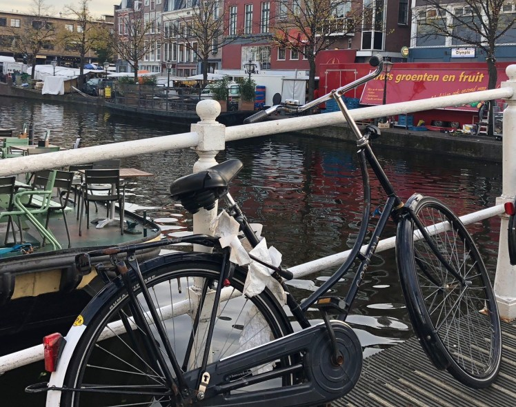 Leiden Bikes on Bridge