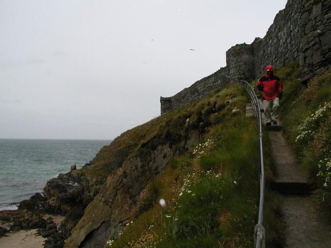 Stormy winds buffet Peel Castle