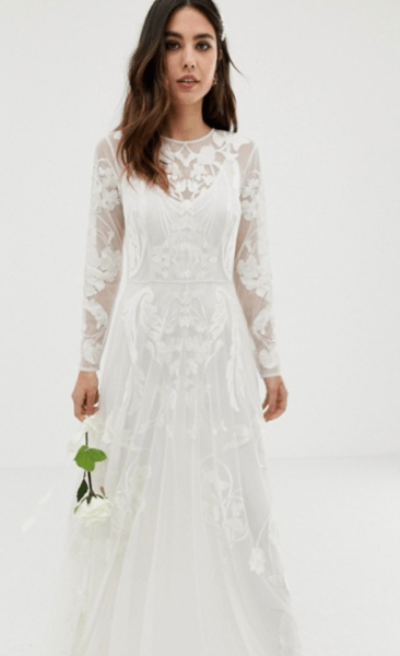 6cb95315c5e2 nouveau embroidered wedding dress asos edition boho wedding dress under $500