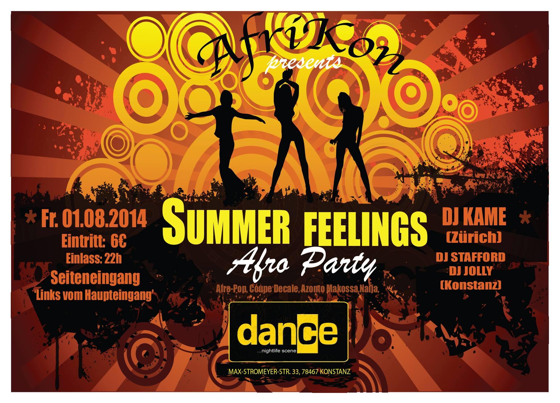 Summer Feelings Fr.1.1.8 Dance, Konstanz Afro Party