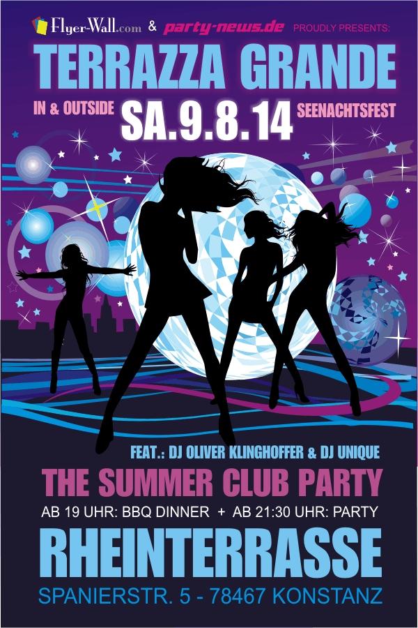 Terrazza Grande –  Summer Club Party Sa. 9.8.14 – Seenachtsfest Rheinterrasse, Konst ...