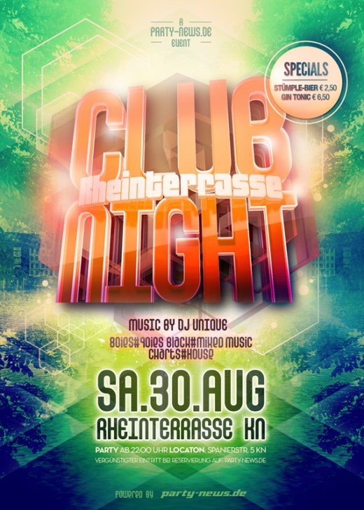 Rheinterrassen Club Night Sa. 30.8.14