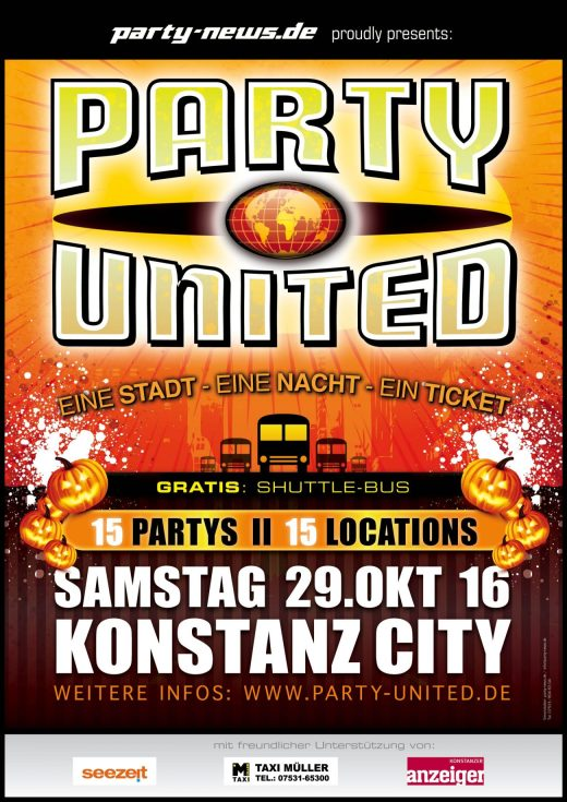 Party-United – Sa. 29.10.16 – Konszanz City. 15 Partys, 15 Locations, 19 DJ's