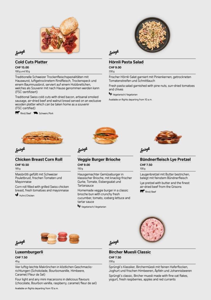 SWISS Saveurs 餐牌-單點(圖片來源:瑞航)