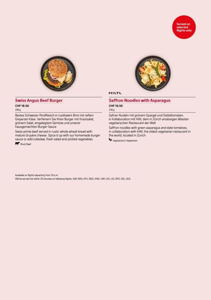 SWISS Saveurs 餐牌-熱食(圖片來源:瑞航)