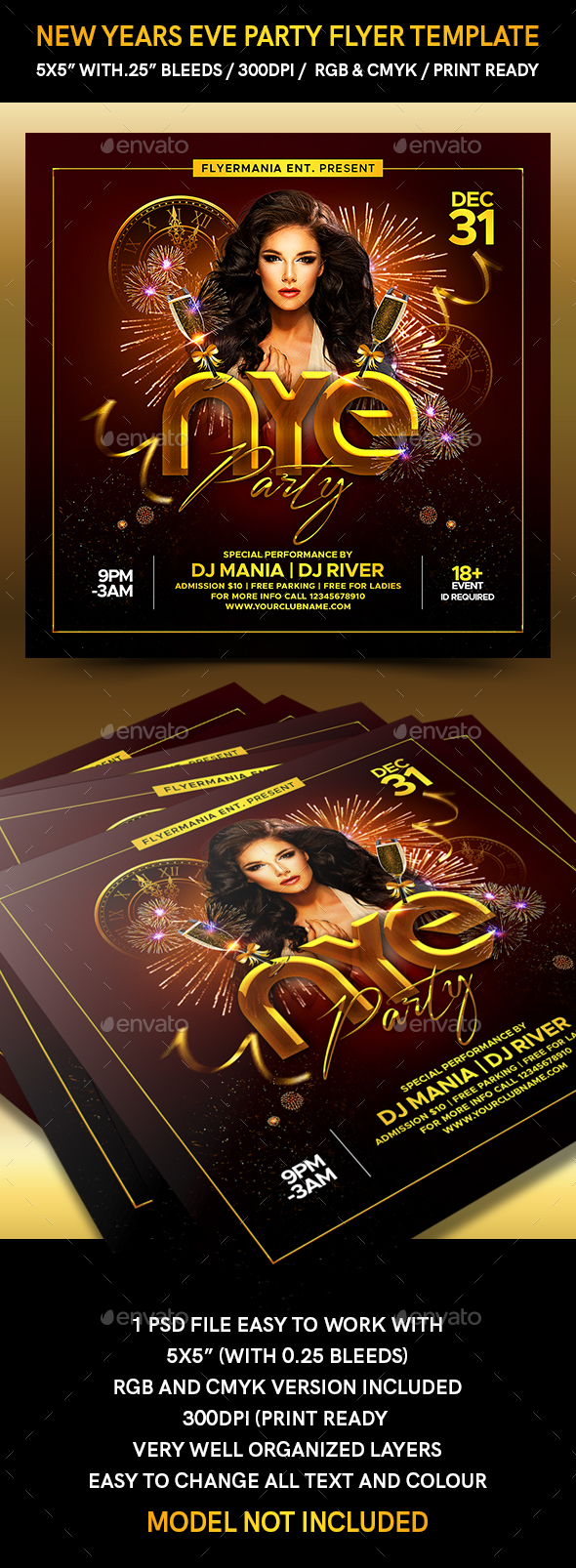Flyers PSD – New Years Eve Occasion Flyer Template – Download