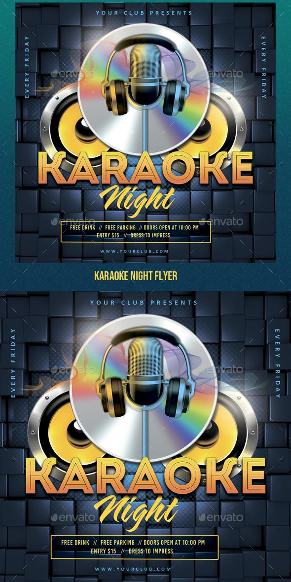 Flyers PSD – Karaoke Evening Flyer – Download