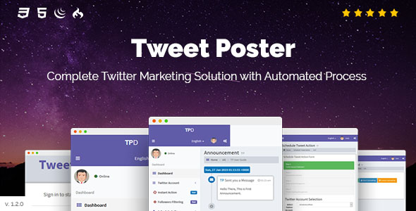 Tweet Poster – Extremely efficient Twitter Schedule Tweets App – PHP Script Download