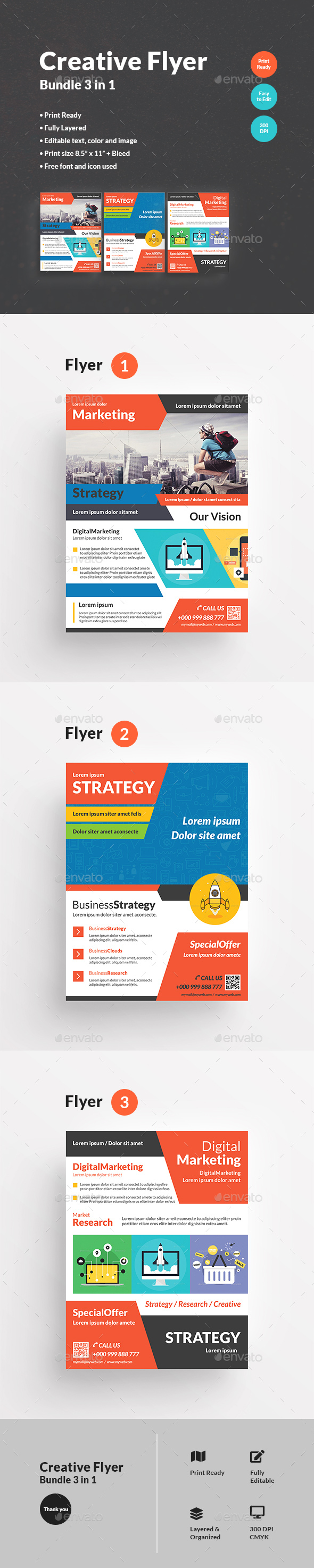 Flyers PSD – Inventive Flyer Bundle 3 in 1 – Download