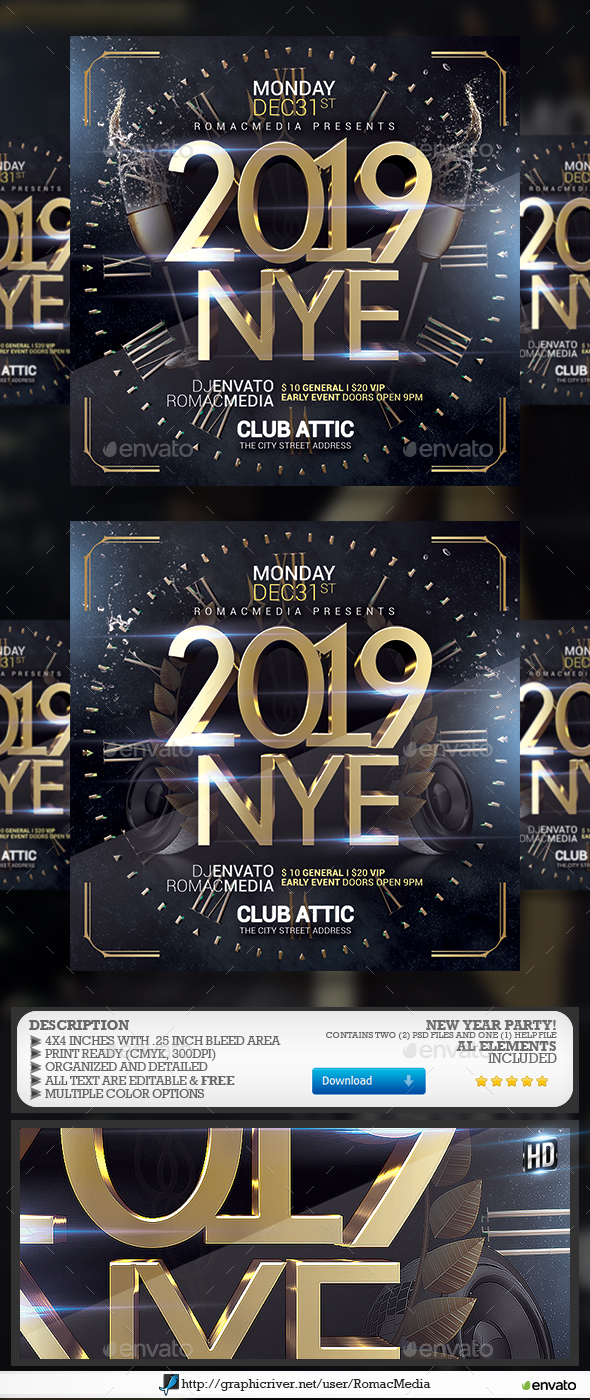 Flyers PSD – 2019 NYE – Download
