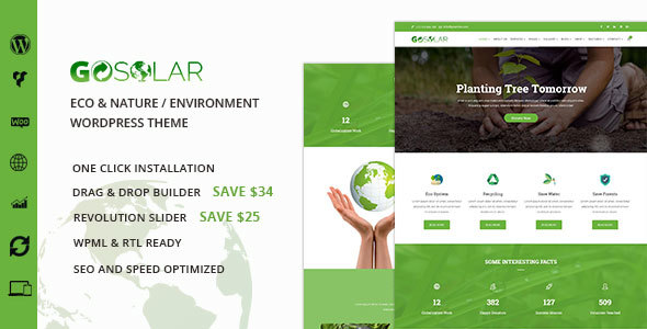 GoSolar – Eco Environmental  & Nature WordPress Theme – WP Theme Download
