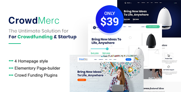 Crowdmerc – Crowdfunding Startup Fundraising WordPress Theme  – WP Theme Download