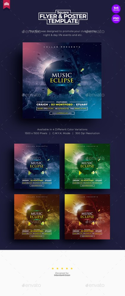 Flyers PSD – Music Eclipse – Square Flyer – Download