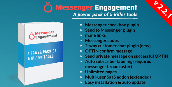 Messenger Engagement – A Bot Inboxer Add-on : A Energy Pack of 5 Messenger Engagement Instruments – PHP Script Download