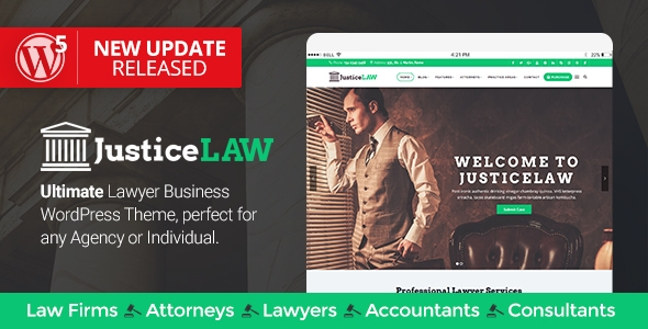 JusticeLAW – A Theme for Legal professionals and Consultants – WP Theme Download