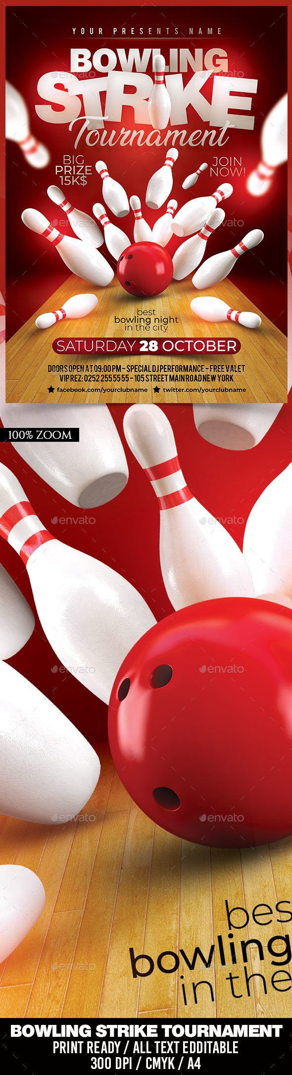 Flyers PSD – Bowling Strike Tournament – Download