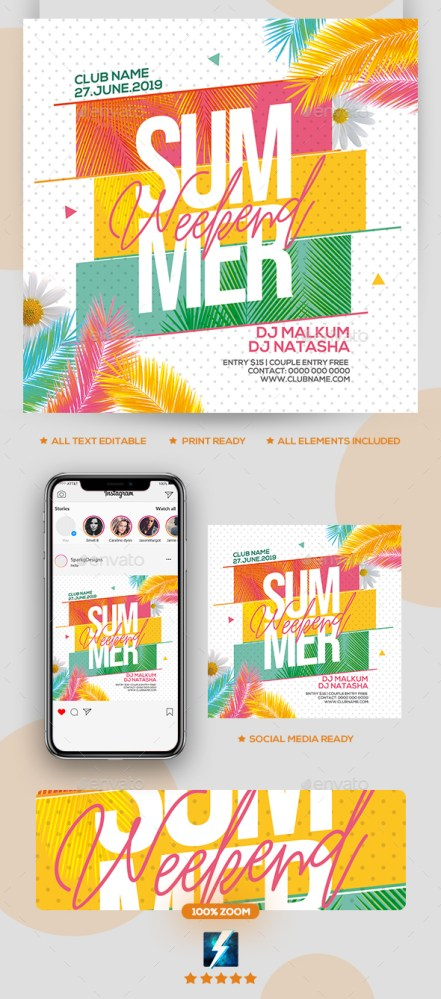 Flyers PSD – Summer Weekend Birthday party Flyer – Download