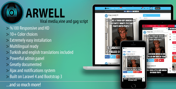 Arwell – Viral media, vine and gag script. – PHP Script Download